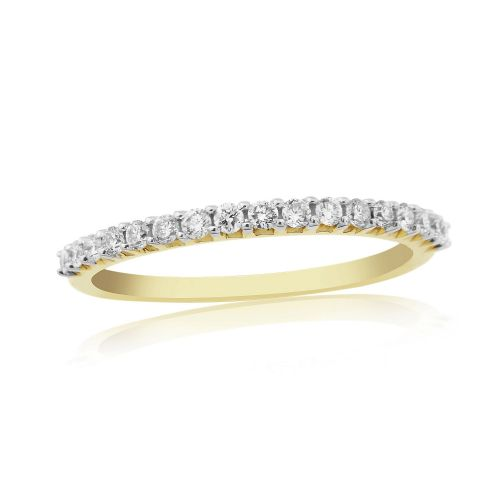 Yellow Gold Diamond Eternity Ring Claw Set 25 Points